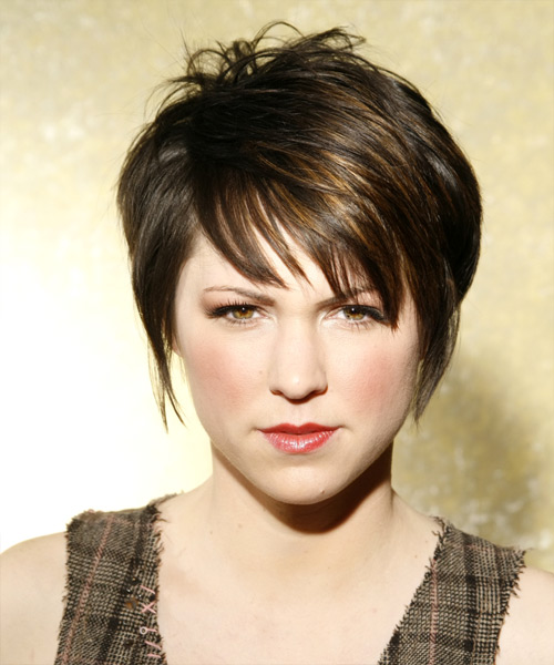 Short Straight Casual    Hairstyle   - Dark Ash Brunette Hair Color