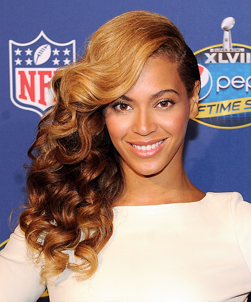 Beyonce Knowles Long Wavy Formal    Hairstyle   - Dark Golden Blonde and Dark Brunette Two-Tone Hair Color