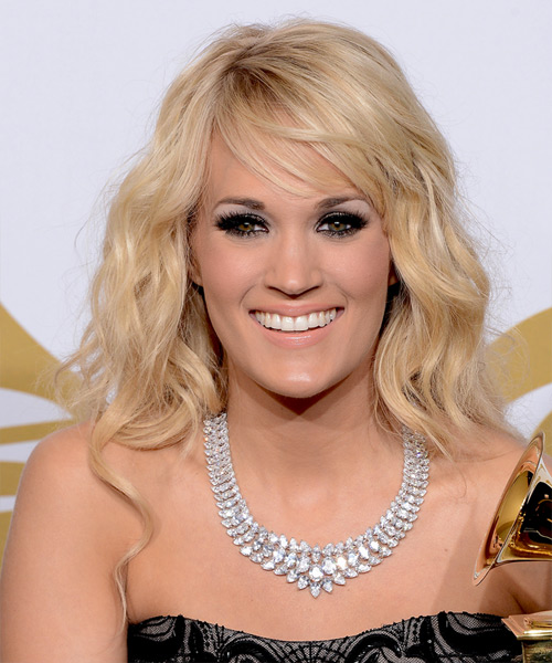Carrie Underwood Long Wavy Casual   Hairstyle with Side Swept Bangs  - Light Blonde