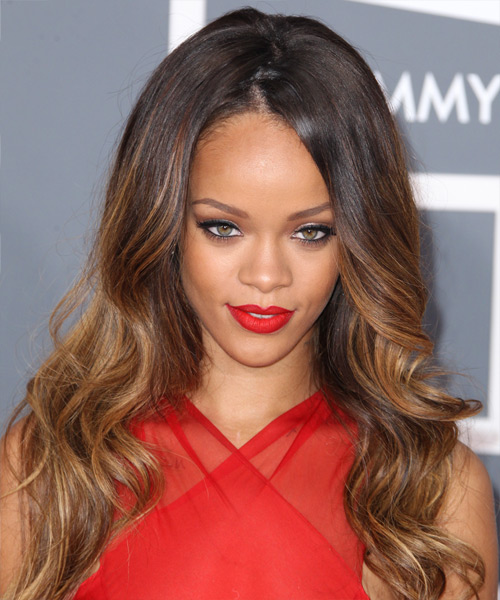 Rihanna Long Wavy Formal    Hairstyle   - Dark Caramel Brunette and  Brunette Two-Tone Hair Color