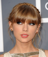 Taylor Swift  Long Straight Formal  Braided Updo Hairstyle with Blunt Cut Bangs  - Dark Golden Blonde Hair Color