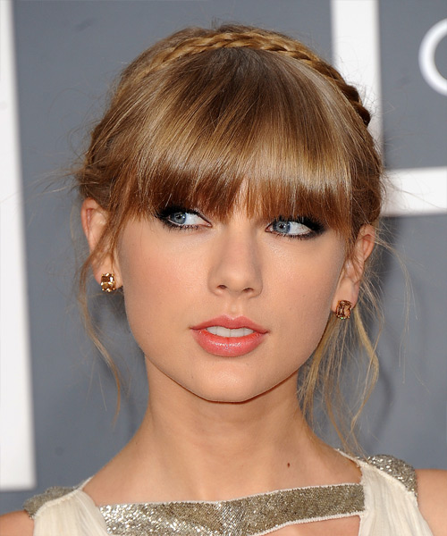 Taylor Swift Updo Long Straight Formal Braided Hairstyle With Blunt Cut Bangs Dark Blonde Golden