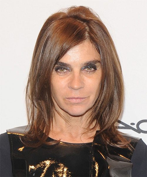 Carine Roitfeld Medium Straight Casual   Hairstyle   - Medium Brunette (Chestnut)