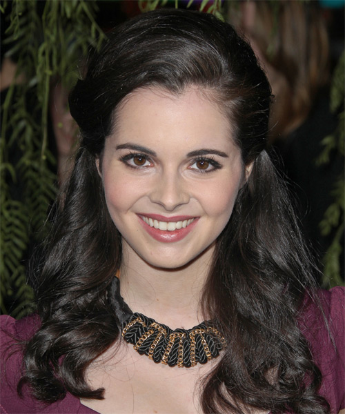 Vanessa Marano Half Up Long Curly Formal Wedding Half Up Hairstyle   - Dark Brunette