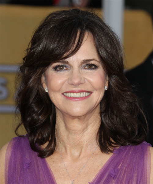 Sally Field Medium Wavy Casual   Hairstyle with Side Swept Bangs  - Dark Brunette (Mocha)