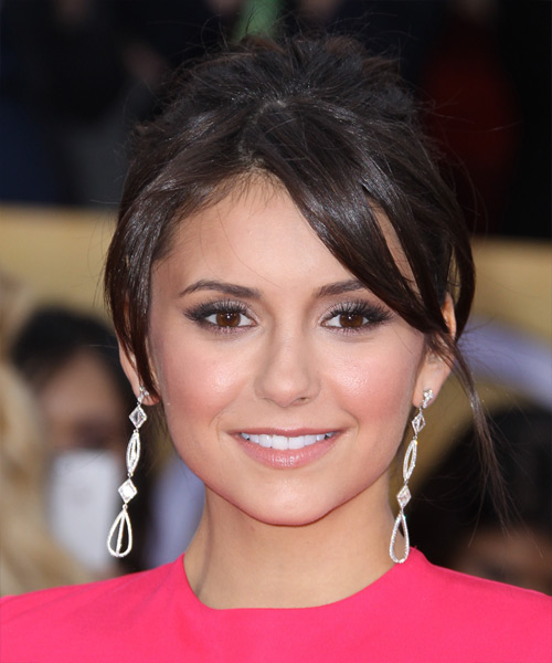 Nina Dobrev Updo Long Straight Formal Wedding Updo Hairstyle with Side Swept Bangs  - Dark Brunette