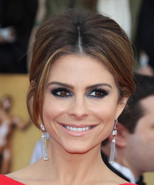 Maria Menounos Updo Long Straight Formal Wedding Updo Hairstyle   - Medium Brunette