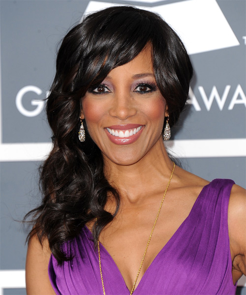 Shaun Robinson Half Up Long Curly Formal  Half Up Hairstyle with Side Swept Bangs  - Black
