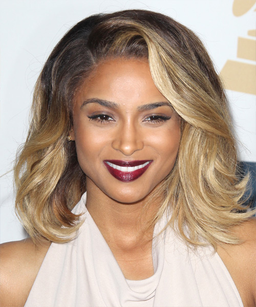 Ciara Medium Straight Casual    Hairstyle   -  Brunette and  Blonde Two-Tone Hair Color with Light Blonde Highlights