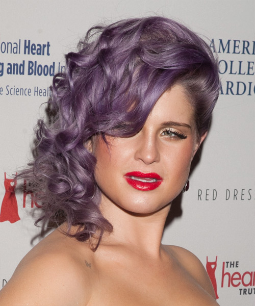 Kelly Osbourne  Medium Curly Formal   Updo Hairstyle   - Purple  Hair Color
