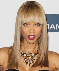 Tyra Banks Long Straight Formal    Hairstyle with Blunt Cut Bangs  - Light Caramel Brunette Hair Color with  Blonde Highlights