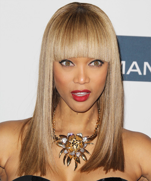 Tyra Banks Long Straight Formal    Hairstyle with Blunt Cut Bangs  - Light Caramel Brunette Hair Color with Medium Blonde Highlights
