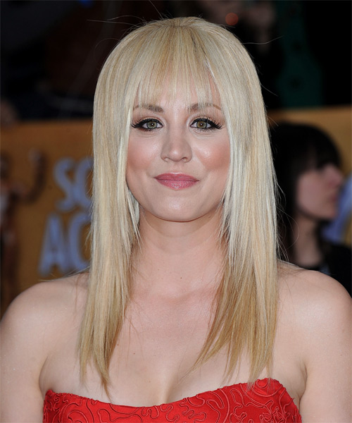 Kaley Cuoco Long Straight Casual    Hairstyle   - Light Champagne Blonde Hair Color with Light Blonde Highlights