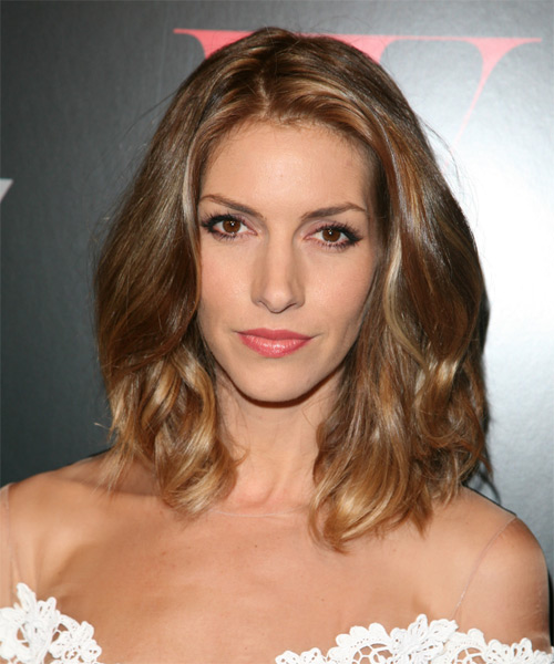 Dawn Olivieri Medium Wavy Casual    Hairstyle   - Light Chestnut Brunette Hair Color with Dark Blonde Highlights