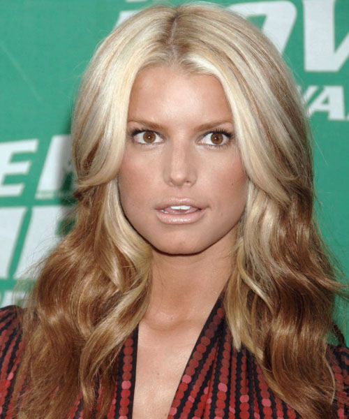 Jessica Simpson Long Wavy Casual Hairstyle - Light Blonde and Dark Blonde Two-Tone Hair Color