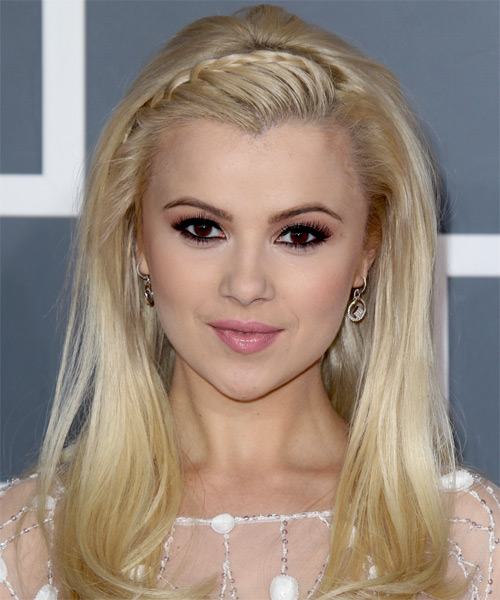 Mika Newton Long Straight   Light Blonde Braided  Hairstyle