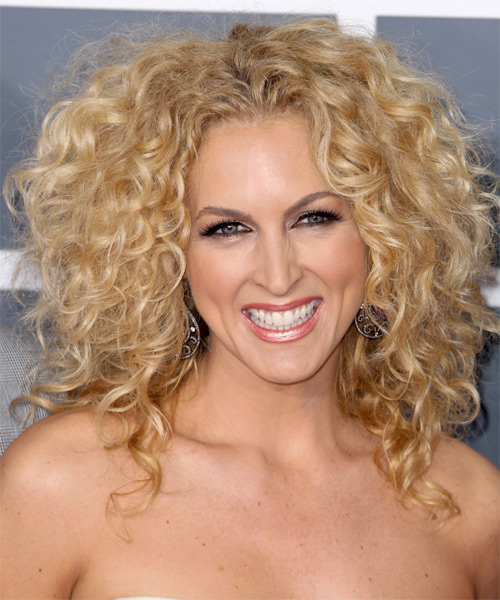 Kimberly Schlapman Medium Curly Casual    Hairstyle   - Light Golden Blonde Hair Color with Light Blonde Highlights