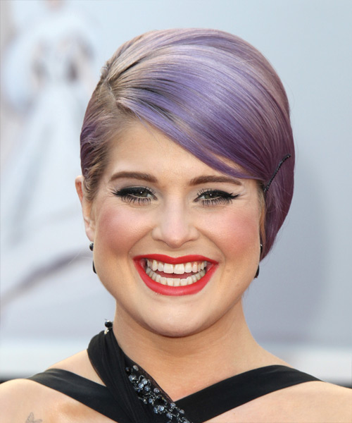 Kelly Osbourne  Medium Straight Formal   Updo Hairstyle   - Purple  Hair Color