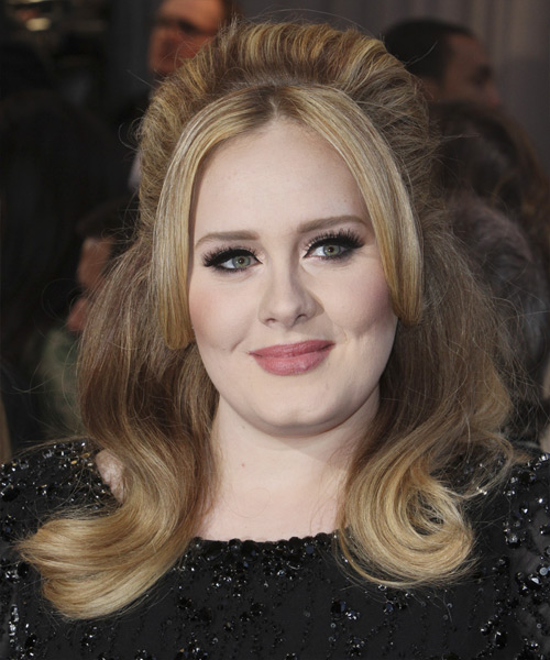 Adele  Long Straight Casual   Half Up Hairstyle   - Dark Chestnut Blonde Hair Color with Light Blonde Highlights