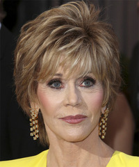Jane Fonda Short Straight Formal    Hairstyle   - Dark Chestnut Blonde Hair Color with Light Blonde Highlights