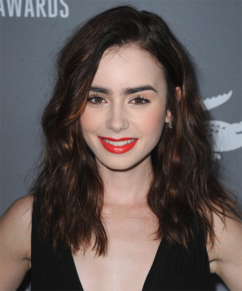 Lily Collins Casual Long Wavy Hairstyle Dark Brunette