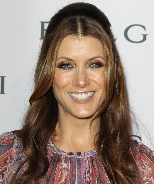 Kate Walsh  Long Straight Casual   Half Up Hairstyle   - Light Brunette Hair Color