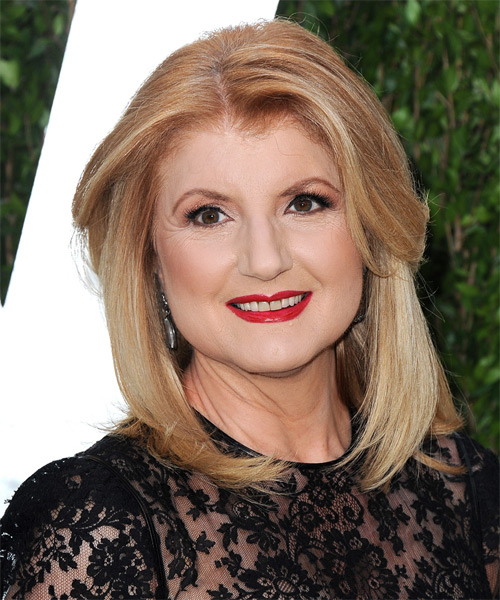 Ariana Huffington Medium Straight Formal   Hairstyle   - Medium Blonde (Strawberry)