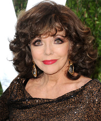 Joan Collins Short Curly Formal    Hairstyle with Layered Bangs  - Dark Mocha Brunette Hair Color