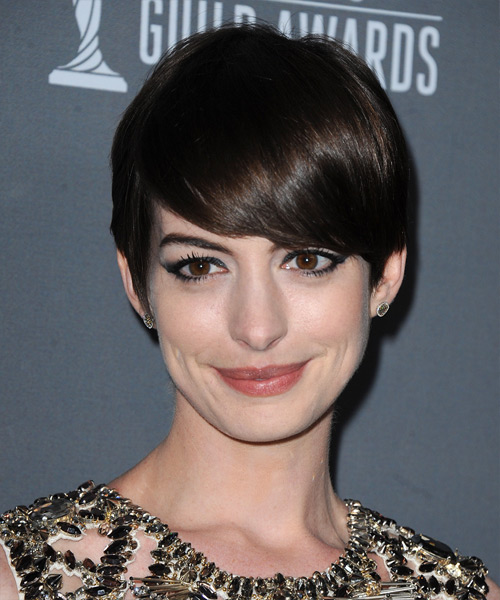 Anne Hathaway Short Straight Formal   Hairstyle   - Dark Brunette