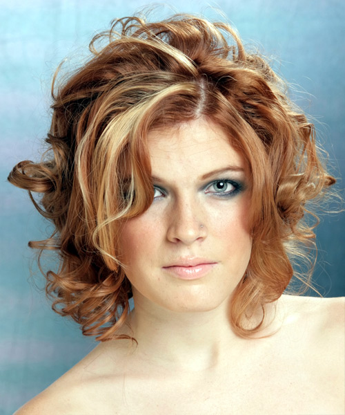 Medium Curly Casual    Hairstyle   - Light Auburn Brunette Hair Color with Light Blonde Highlights