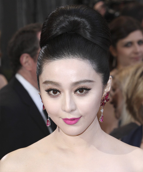 Fan Bingbing Updo Long Straight Formal Wedding Updo Hairstyle   - Black