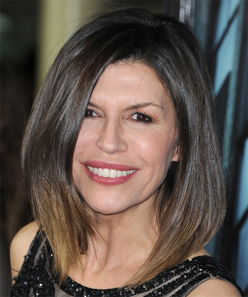 Finola Hughes Medium Straight Casual Bob  Hairstyle   - Medium Brunette