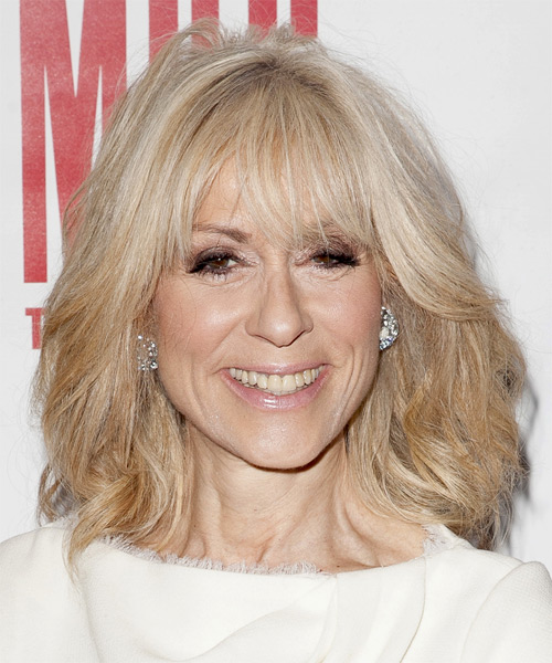 Judith Light Medium Straight   Light Blonde   Hairstyle with Side Swept Bangs