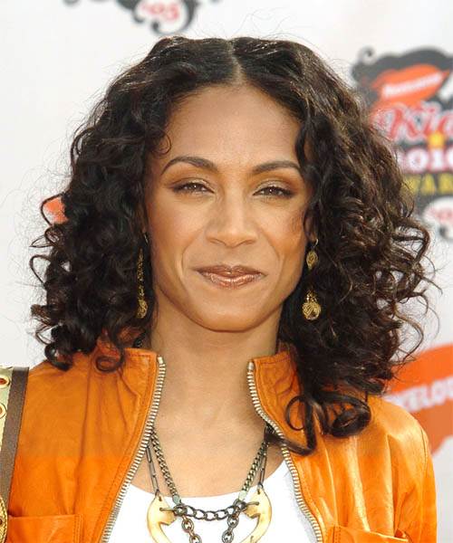 Jada Pinkett Smith Long Curly Monochromatic Dark Brown Hairstyle