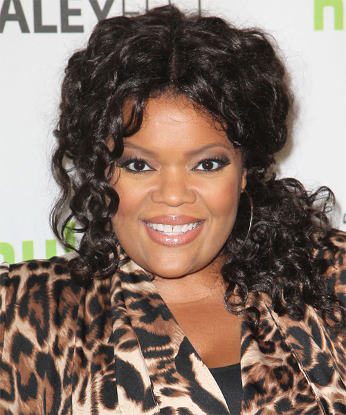 Yvette Nicole Brown Half Up Long Curly Casual  Half Up Hairstyle