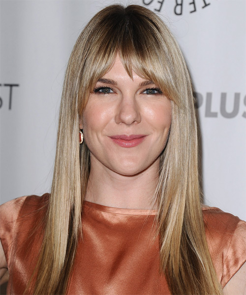 Lily Rabe Long Straight Formal   Hairstyle with Layered Bangs  - Medium Blonde (Champagne)