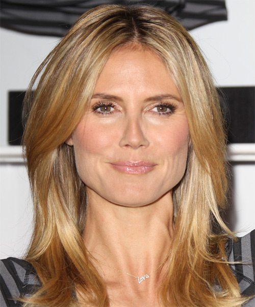 Heidi Klum Long Straight Casual    Hairstyle   - Medium Copper Blonde Hair Color with Light Blonde Highlights