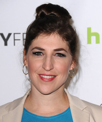 Mayim Bialik  Long Straight Casual   Updo Hairstyle   - Dark Brunette Hair Color
