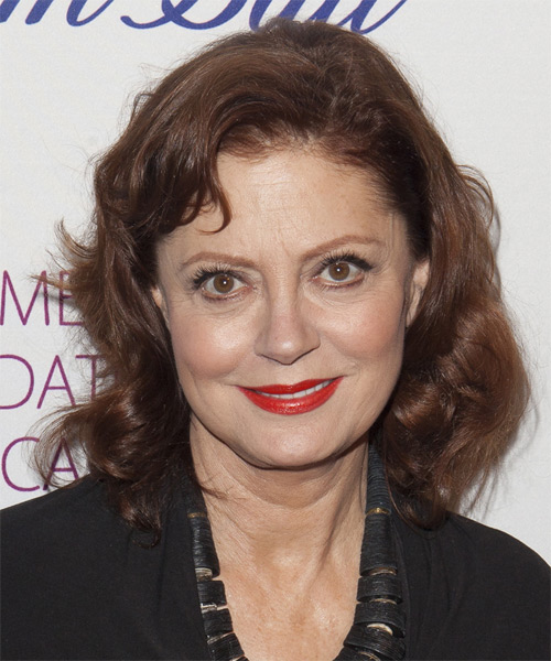 Susan Sarandon Medium Wavy Casual    Hairstyle   -  Chestnut Brunette Hair Color