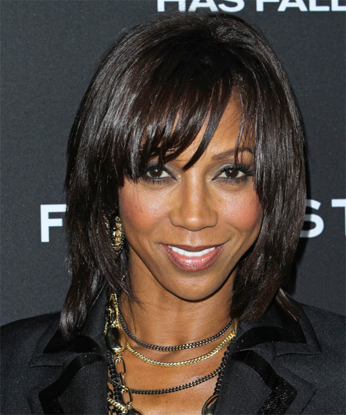 Holly Robinson Peete Medium Straight Casual    Hairstyle with Side Swept Bangs  - Dark Brunette Hair Color