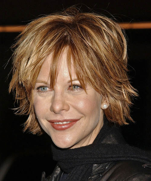 Meg Ryan Medium Straight Casual   Hairstyle with Layered Bangs
