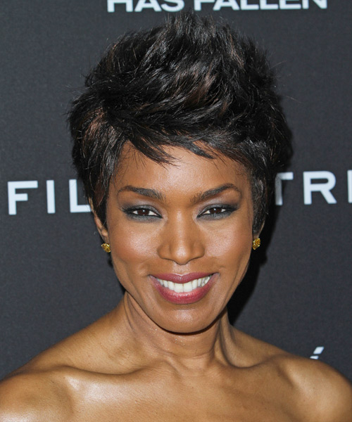 Angela Bassett Short Straight Casual   Hairstyle   - Black