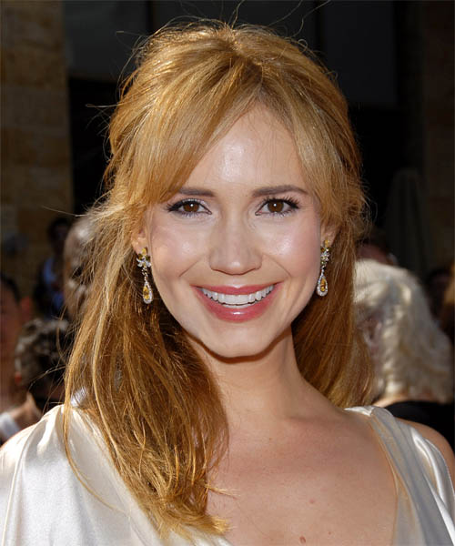 Ashley Jones Long Straight Casual Half Up Hairstyle