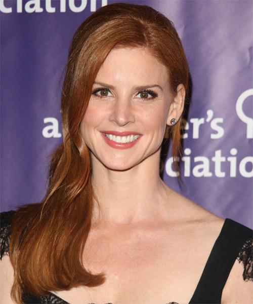 Sarah Rafferty  Long Straight Casual   Half Up Hairstyle