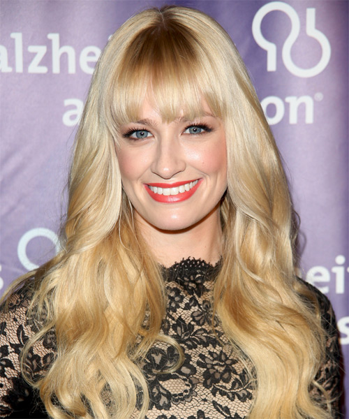 Beth Behrs Long Wavy Formal   Hairstyle