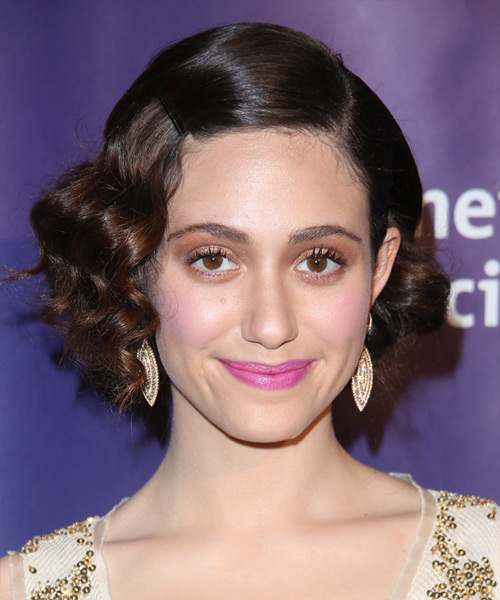 Emmy Rossum Short Wavy Formal   Hairstyle