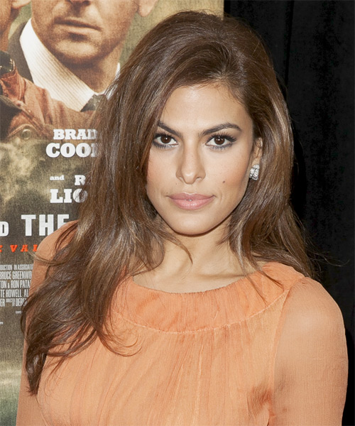 Eva Mendes Long Straight Casual   Hairstyle