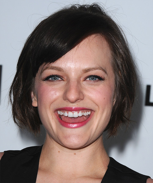 Elisabeth Moss Short Straight Casual   Hairstyle with Side Swept Bangs  - Dark Brunette