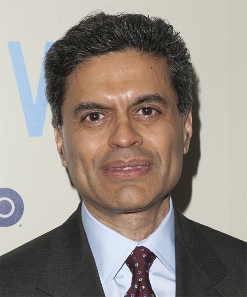 Fareed Zakaria Short Straight Formal   Hairstyle   - Dark Grey