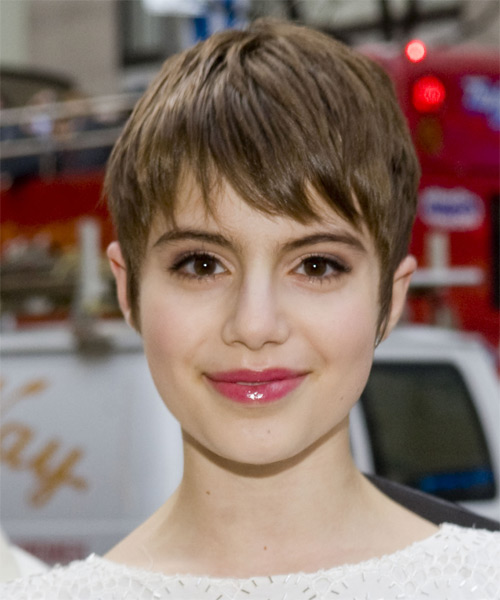 Sami Gayle Short Straight Casual Layered Pixie  Hairstyle with Layered Bangs  - Medium Caramel Brunette Hair Color